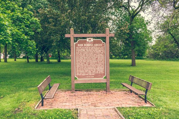 Historical Marker Burr Robbins Circus In Janesville Historical