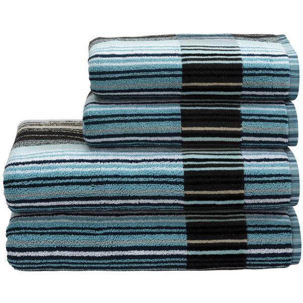 Christy Supreme Capsule Stripe Towel - Aqua - Bath ($27) ❤ liked on Polyvore featuring home, bed & bath, bath, bath towels, blue, christy bath towels, blue bath towels, striped bath towels, stripe bath towels and aqua bath towels