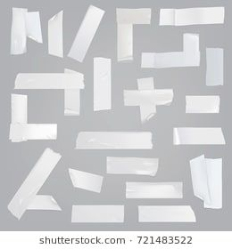 White Adhesive Tape Various Pieces With Wrinkles Curved And Torn Edges Isolated Realistic Vector Illustrations Adhesive Tape Paper Background Texture Adhesive