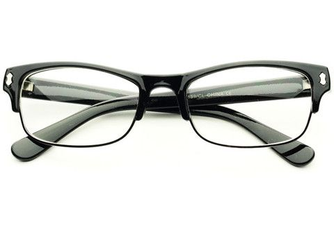 READING STYLE CLEAR HALF FRAME GLASSES BLACK W351