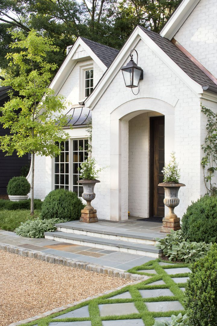 Beautiful Exterior Home Design Trends: Beautiful White Brick Home Exterior. #housedesign