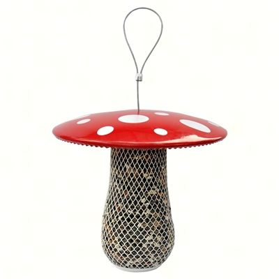 Mushroom Mesh Feeder.  Fill with sunflower seeds, peanuts, suet, or dried mealworms. Poweder coated, all metal finish with easy twist off lid 0.70 lb. seed capacity #birdfeeder #birdfeeders
