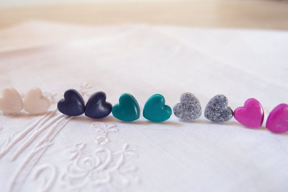 Orecchini a cuore, orecchini a lobo , in pasta polimerica, orecchini romantici , orecchini vari colori
