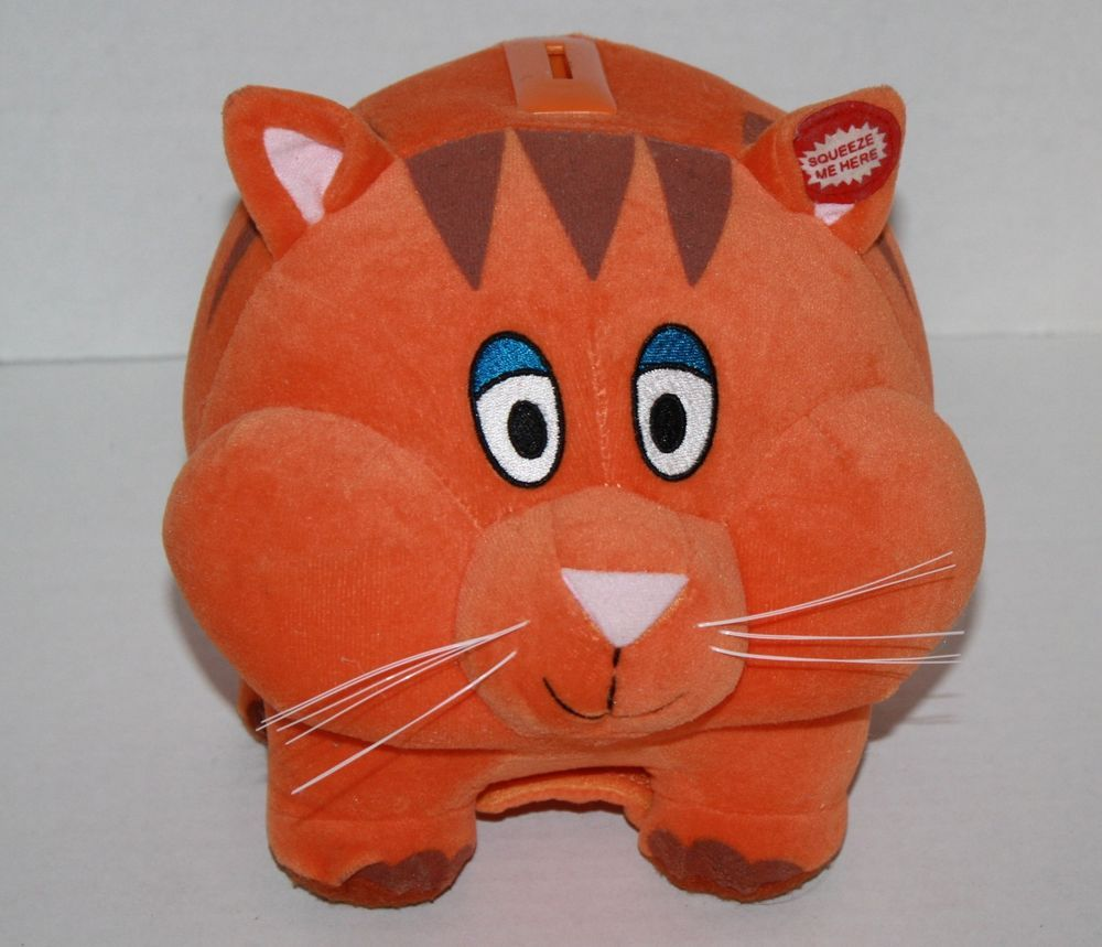Lause Cat Piggy Bank Orange Velour Plush Cheeks Face Light Up 9 Meows 70825