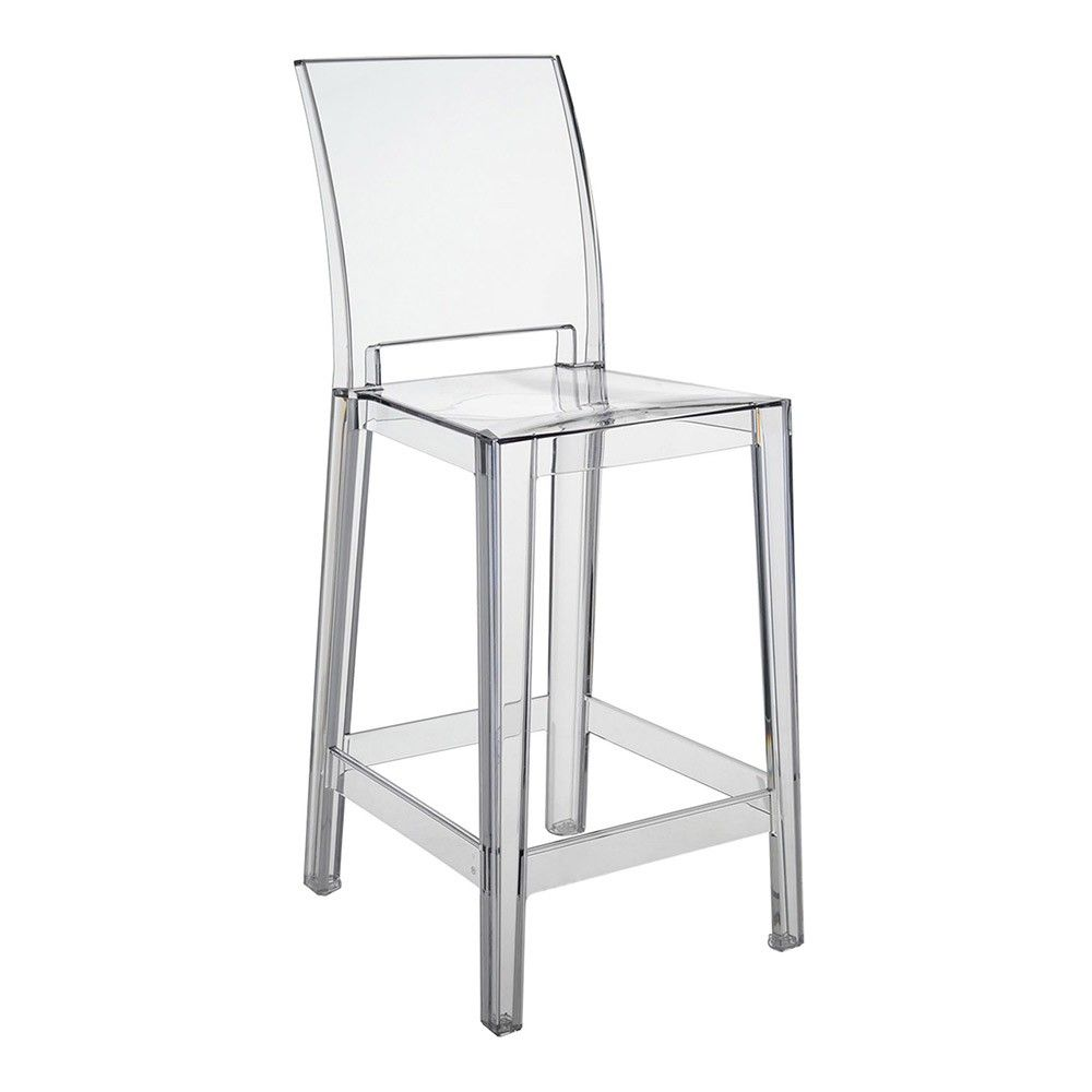 Kartell One More Please Bar Stool 65cm Square - Crystal