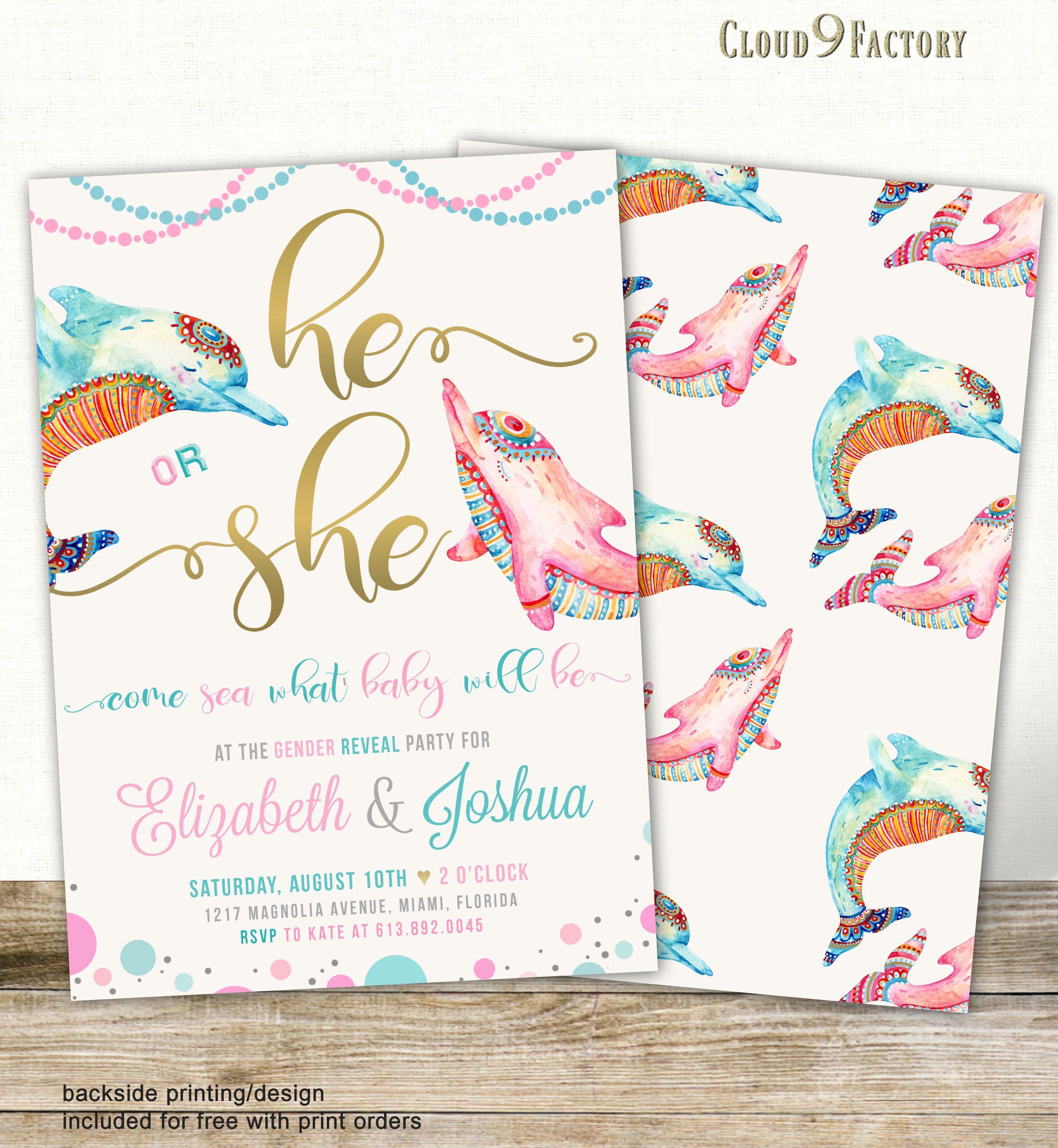 Dolphins Gender Reveal Invitation, Gender Reveal Party Invites ...
