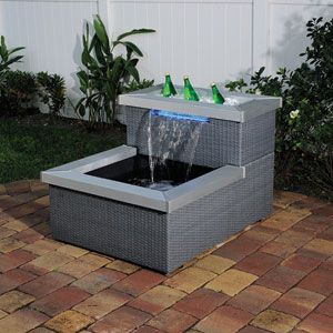 Ppigrb45 patio pond grey rattan with lighted spillway for Pond waterfall spillway ideas