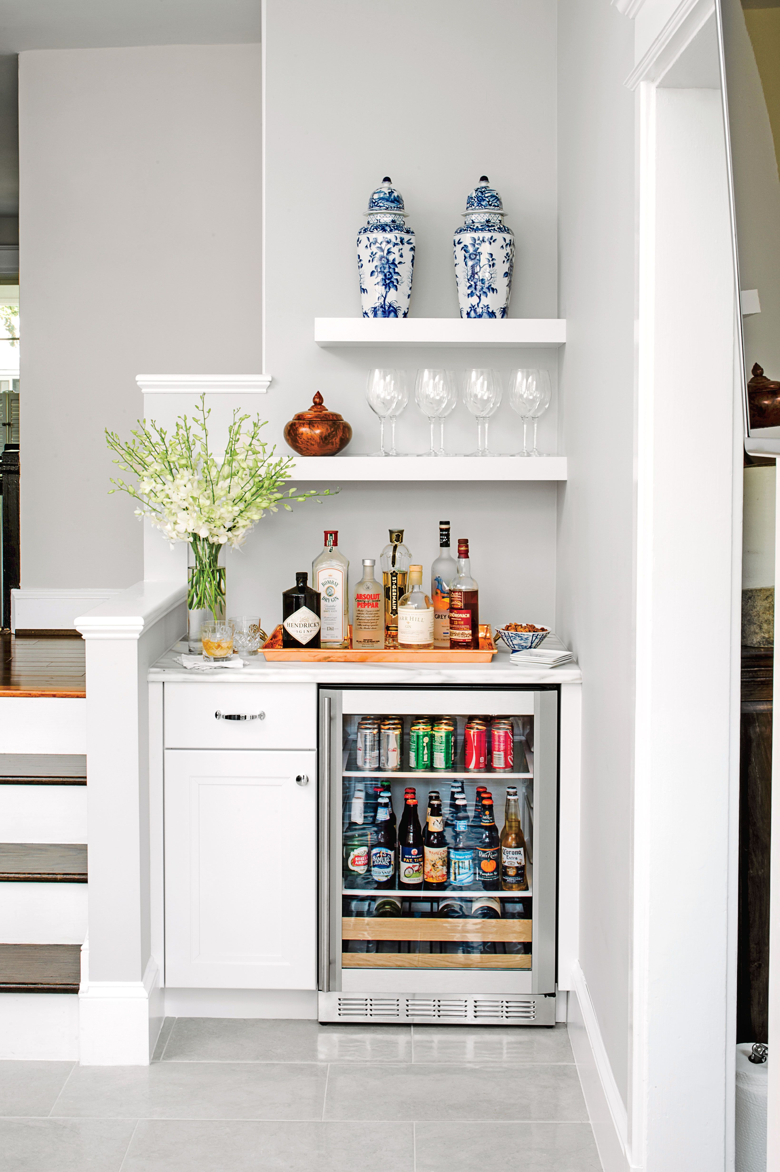 Bar Nook with Mini Fridge  Home Stuff in 2019  Bars for