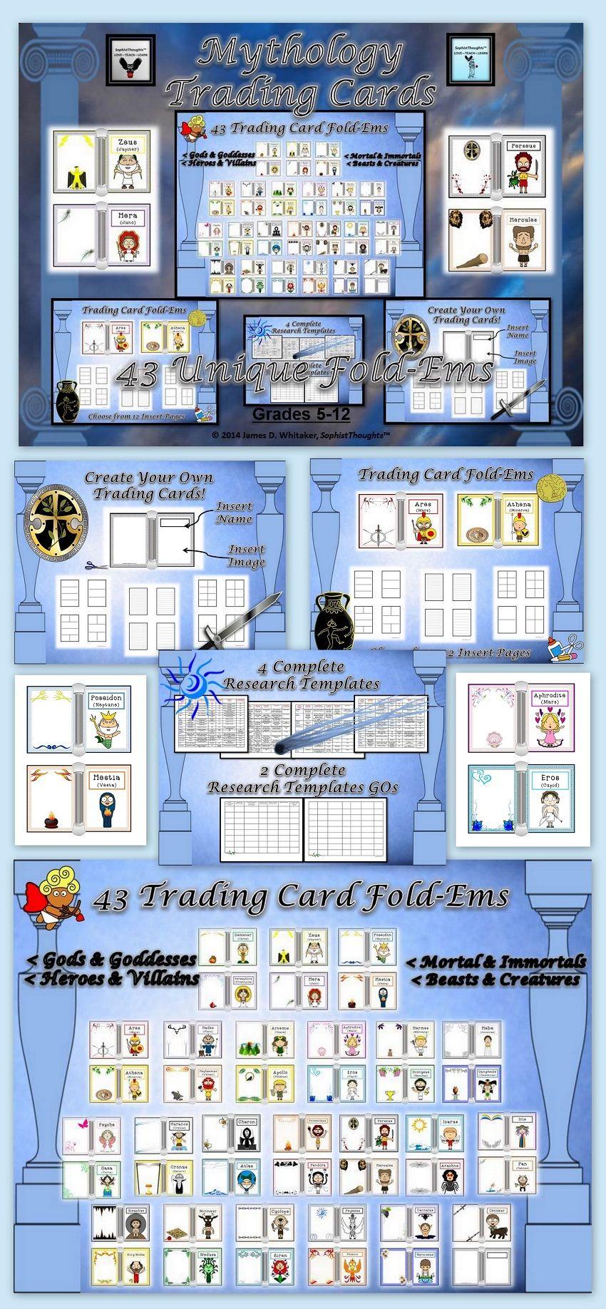 Mythology Greek Roman Trading Card Fold Ems Activity Mythology Greek And Roman Mythology Greek Mythology