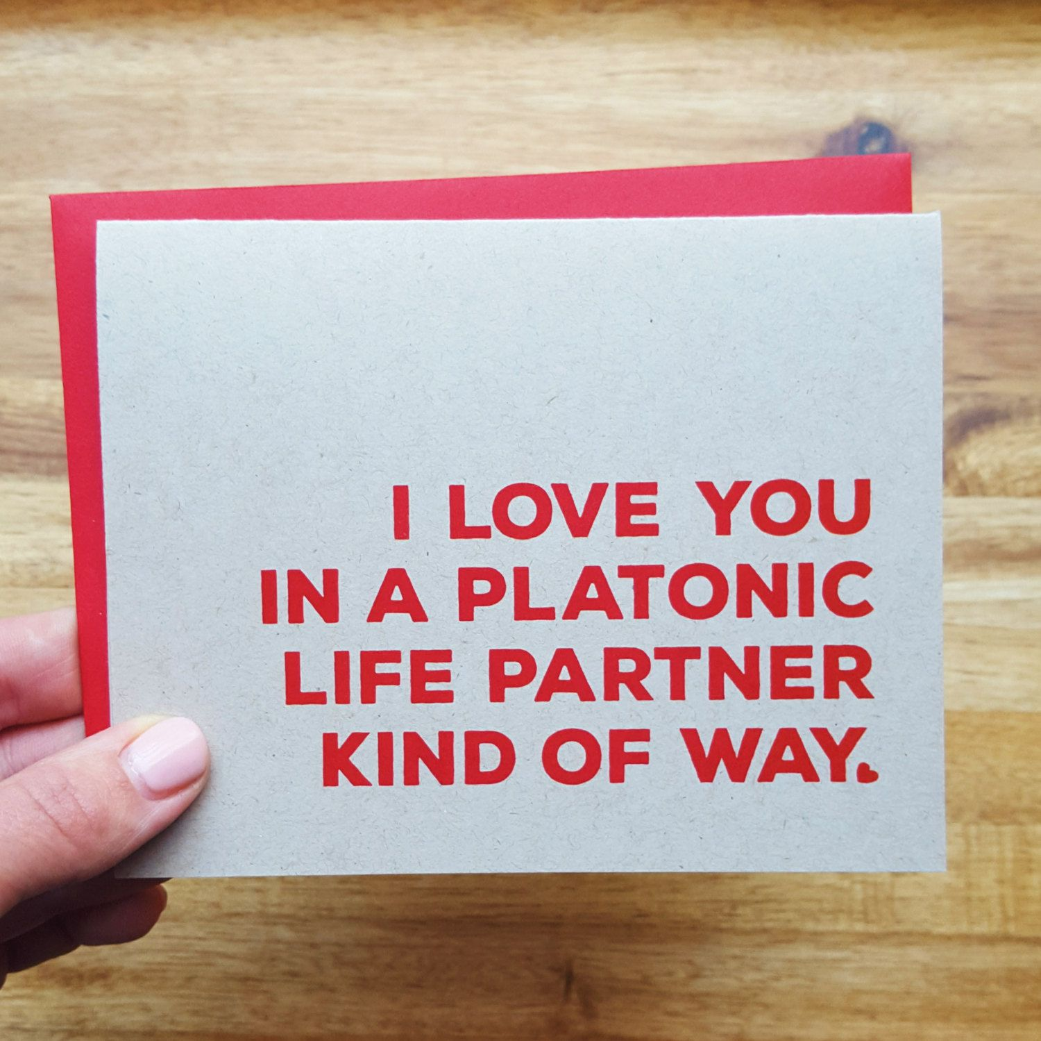 DaviePaperCo - Funny Friend Love Card - I love you in a platonic life partner kind of way - Valentine's Day