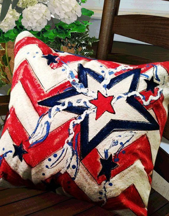 4th Of July Flag Pillow Patriotic Decor Polka Dot Stars And