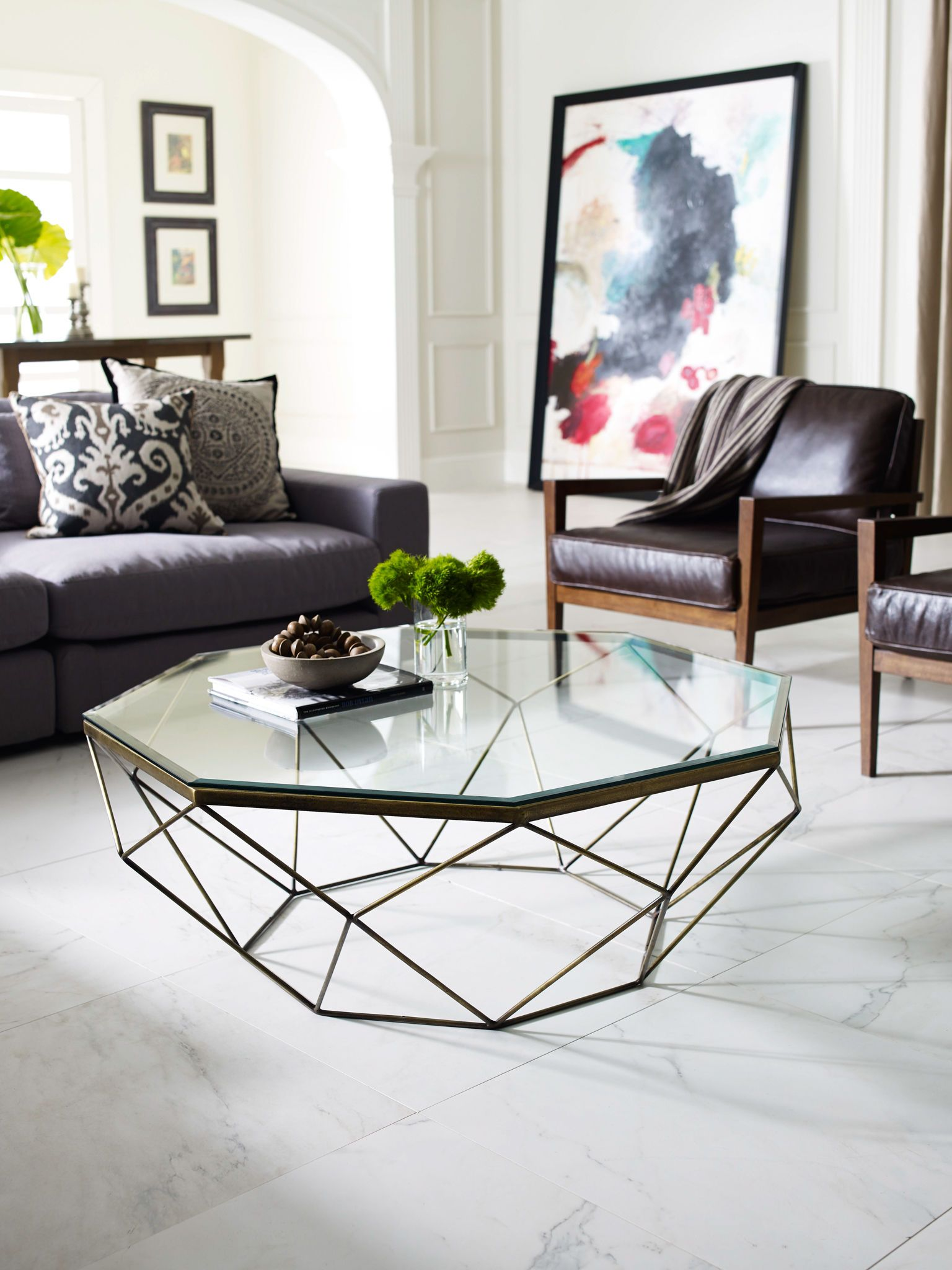 Four Hands Living Room Geometric Coffee Table-Antique Brass IMAR-54 ...