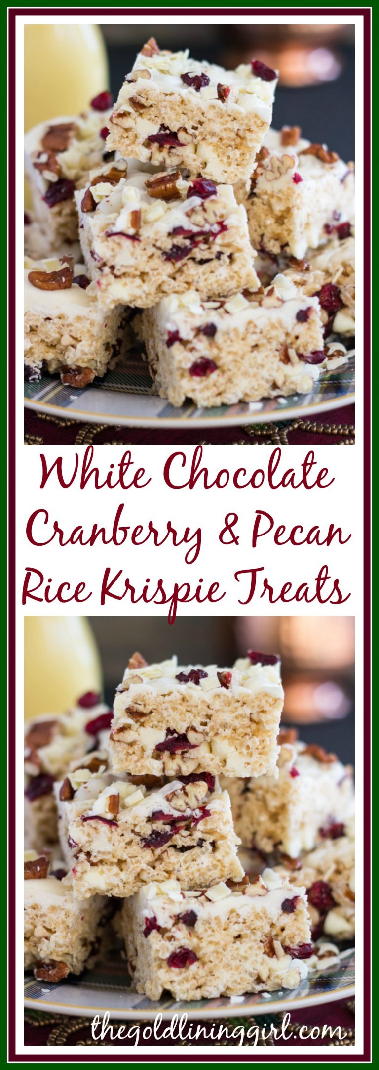 White Chocolate Cranberry Pecan Rice Krispie Treats