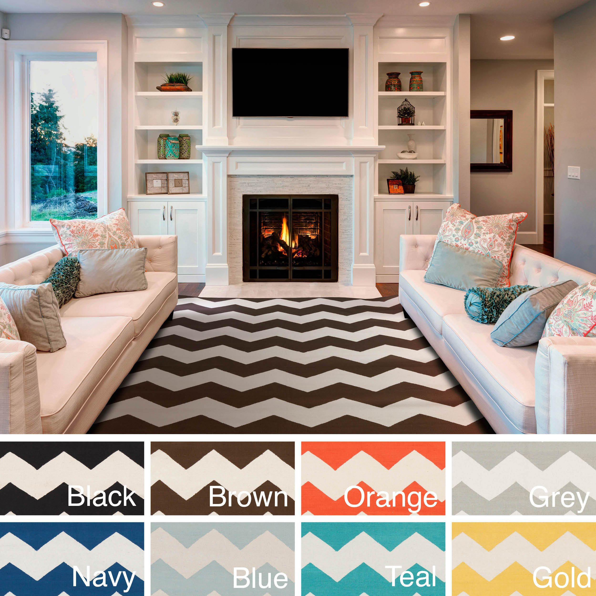 Add Bold Style To Your Decor With This Contemporary Chevron Patterned Rug Hand Woven