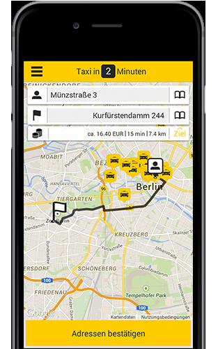 Taxi App für Berlin jetzt testen! Taxibestellung per Smartphone
