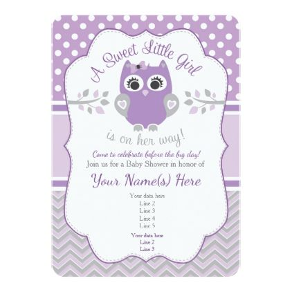 template - #Purple Gray Little Owl Baby Shower Invitation If and - baby shower invitation templates