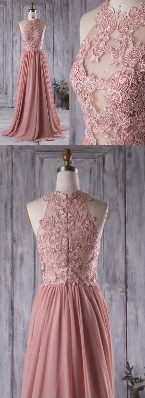Dusty rose wedding dress  Lace Top See Through Dusty Rose Long Aline Chiffon Prom Bridesmaid