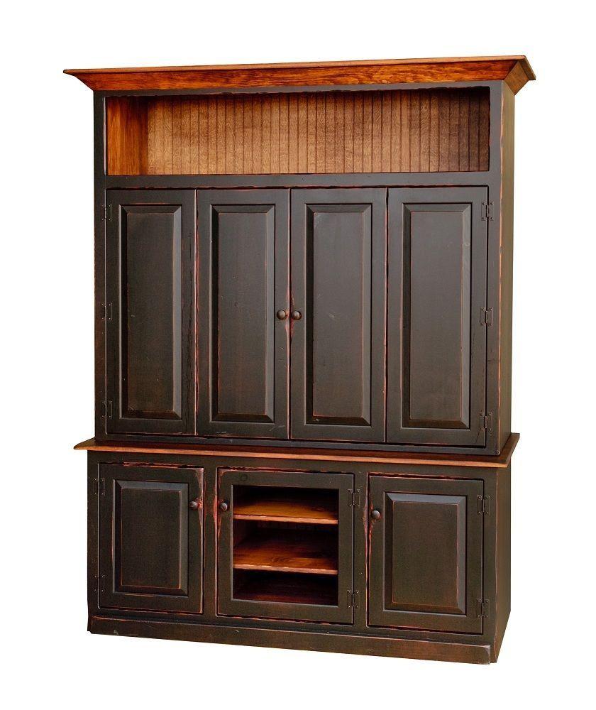 Primitive Rustic Entertainment Center Armoire TV Stand Cabinet ...