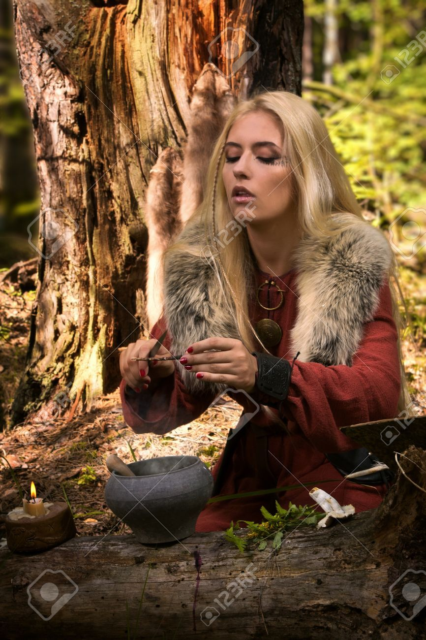 Scandinavian Witch Pythoness Cooking Potion In A Dark Forest Dark Forest Scandinavian Viking Women