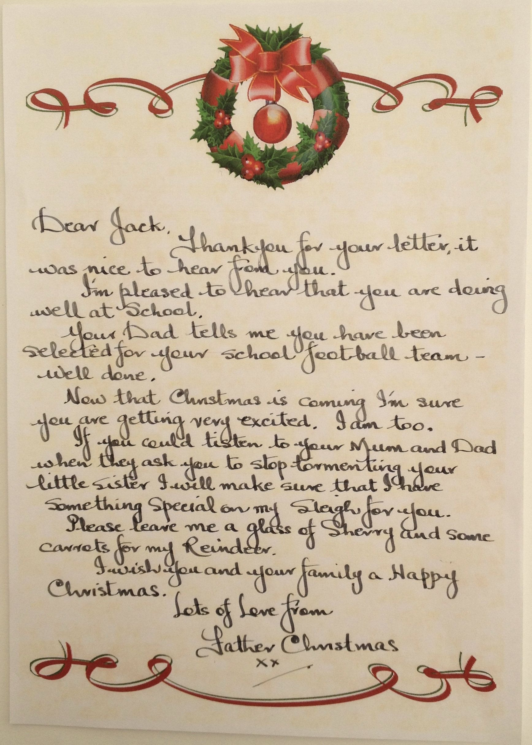 Personalised Handwritten Letter from Father Christmas