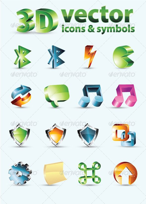 3D Vector Icons Or Symbols #GraphicRiver 3d vector icons and