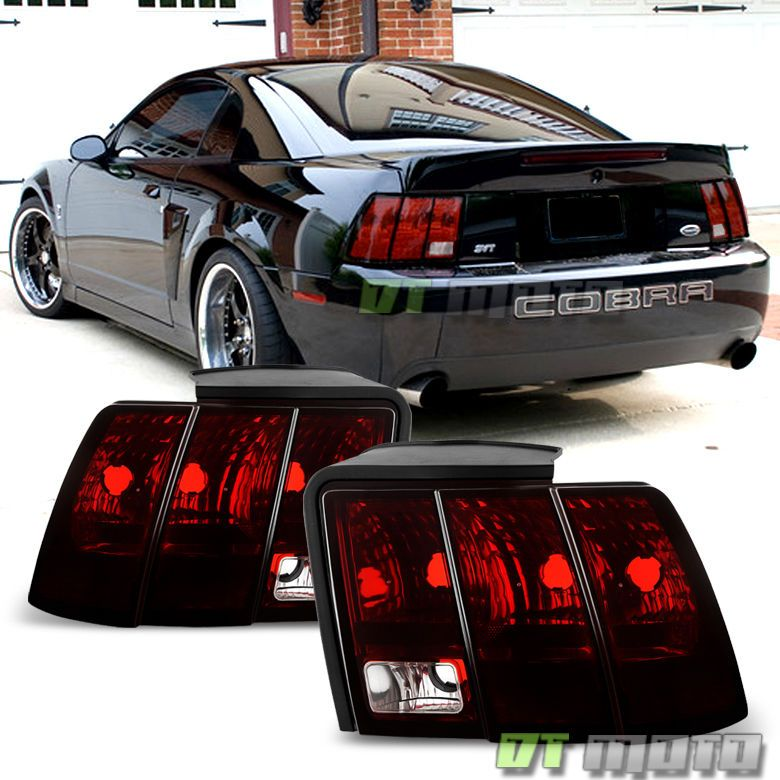 1999 2004 Ford Mustang Blk Tinted Tail Lights Rear Brake Lamps