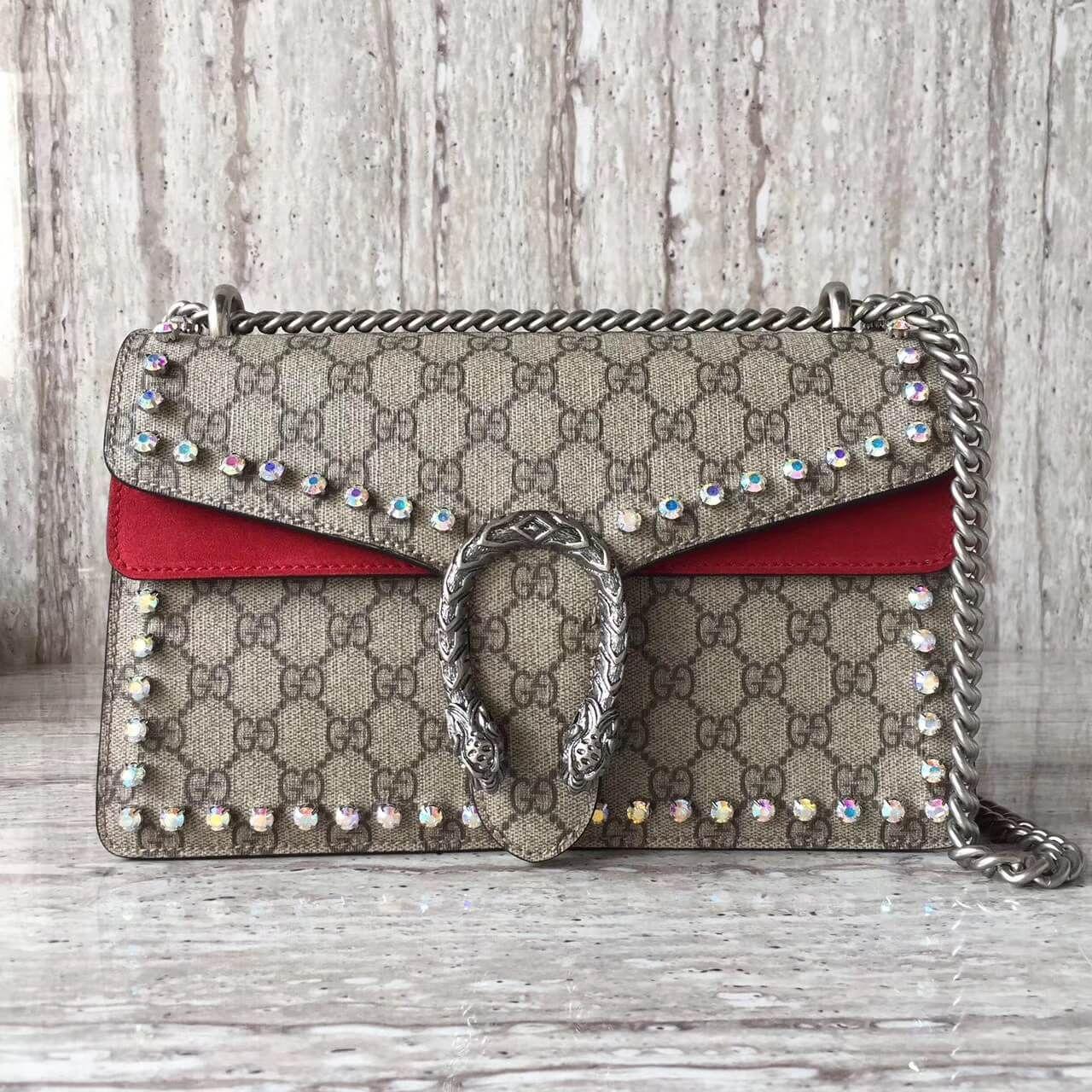 c0c801b74fe Gucci Dionysus GG Supreme Shoulder Bag with Crystals 400249 Red 2017 ...