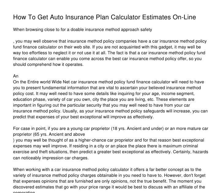 Insurance Company Auto Insurance Estimate Calculator
