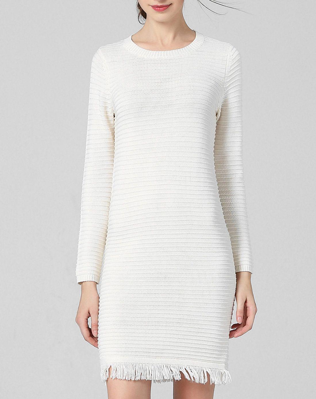 #AdoreWe #VIPme Sweater Dresses - wei guo yue White Grew Neck Long Sleeve Knitted Mini Dress - AdoreWe.com