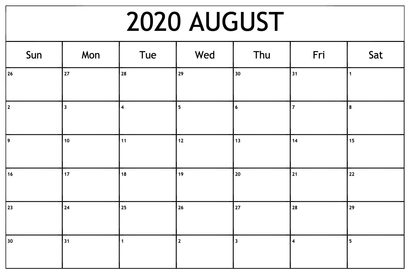Blank Calendar August 2020 Monthly Calendar Template 2020