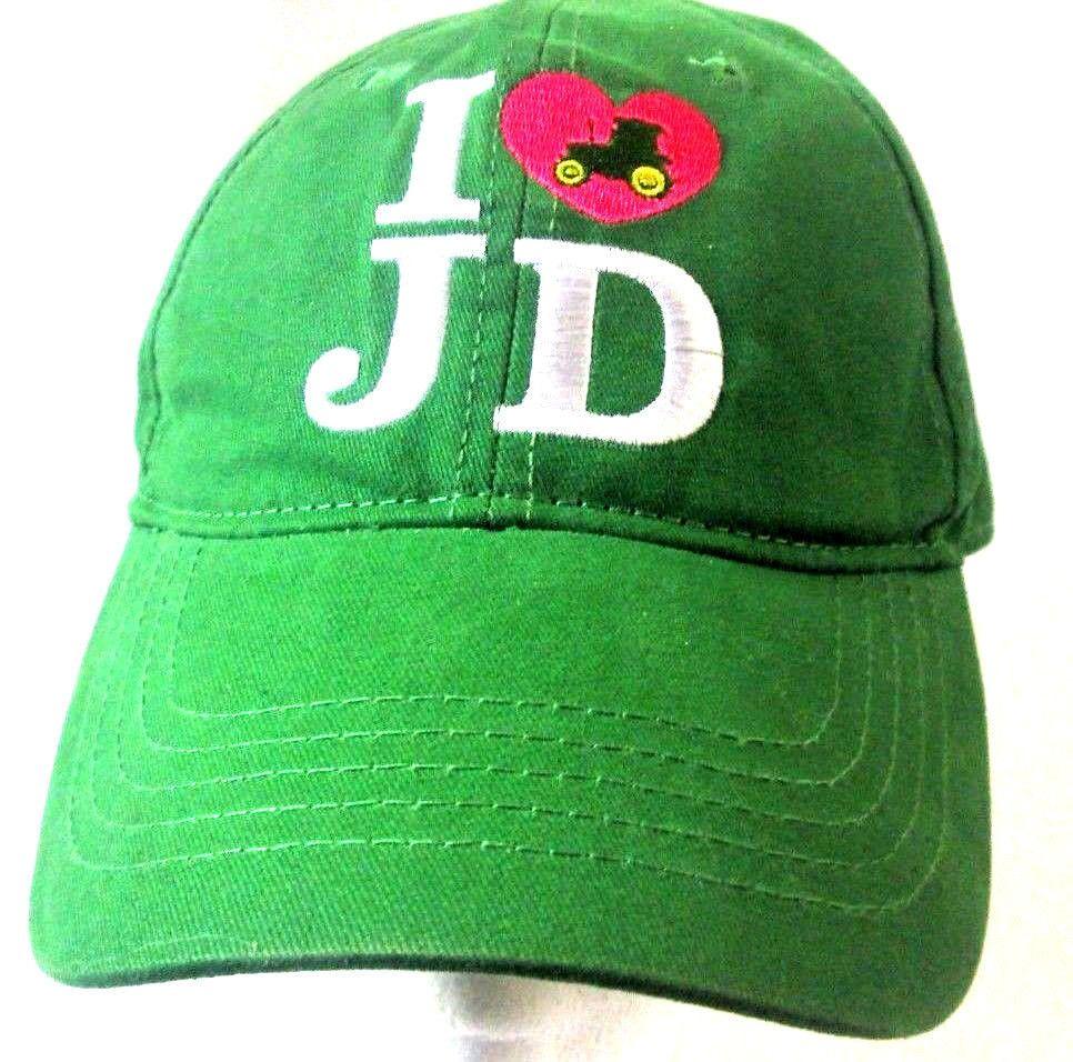 09e0530fe86 JOHN DEERE Official Baseball HAT Heart Tractor Farm I LOVE JD Green CAP   JohnDeere