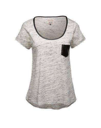 HILFIGER DENIM Shirt mit Besätzen in Lederoptik ´Vera´ hellgrau meliert schwarz