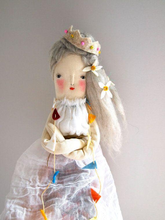 Hand crafted linen doll folk art display doll by JessQuinnSmallArt
