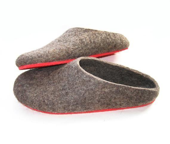 Scandinavian Felt Boiled Wool Mules Unisex Organic Brown Etsy Felted Slippers Felt Wool Slipper Felted Wool Slippers