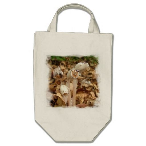 Indian Pipe ~ bag ~ A trio of rare white Indian Pipe fungus growing in a Massachusetts pine forest. Black spots can add interest like on one flower here that looks like a dog. Native Americans claim medical uses.