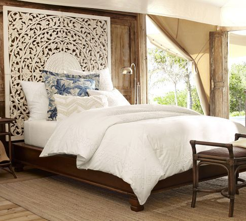 Love this!  Not sure about using them as a head board, but love it for an open entry way with 2 story ceilings and lots of wall space! Carved Medallion Panels, Set of 4 | Pottery Barn