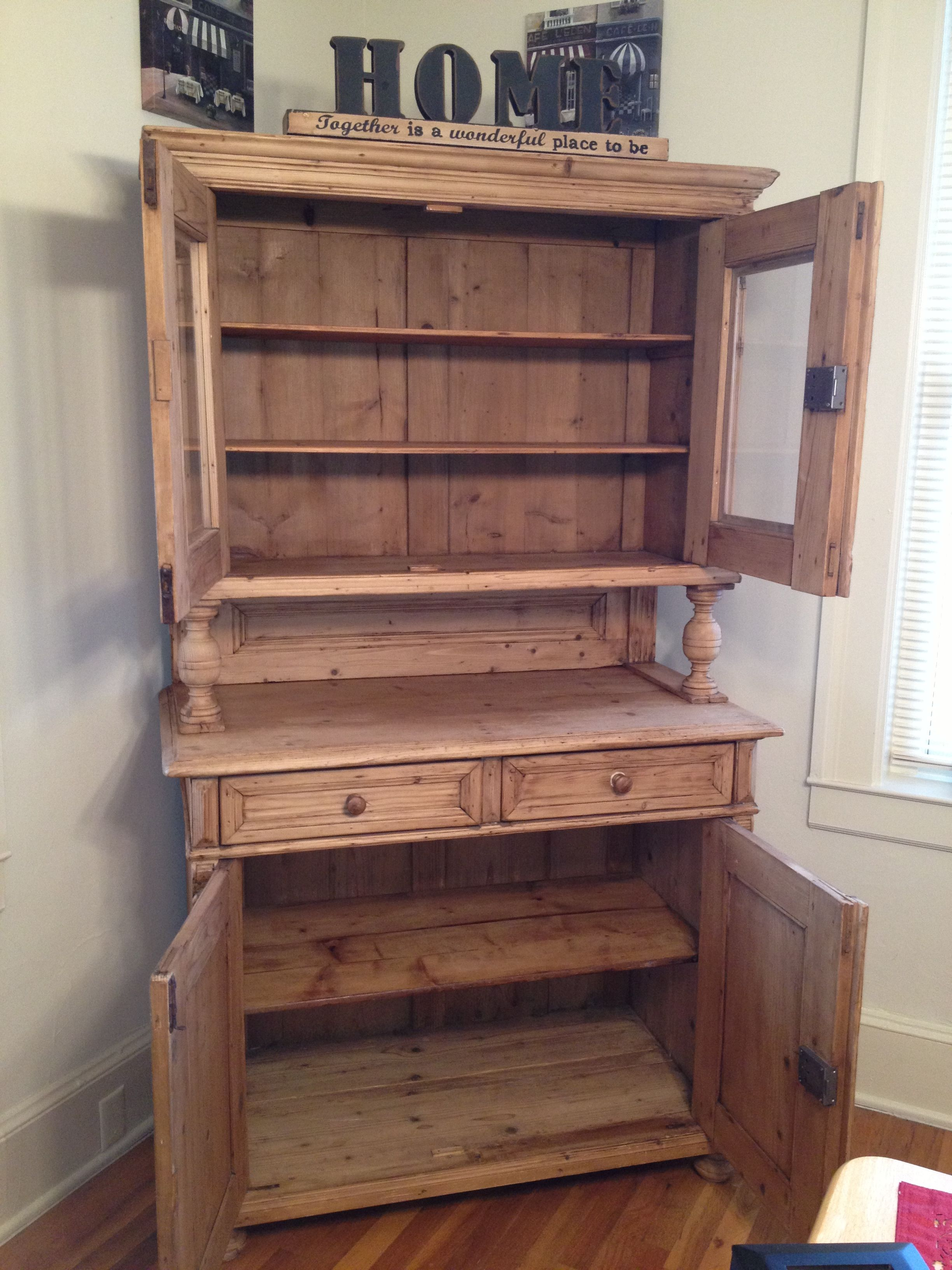 Knotty Pine Antique Hutch