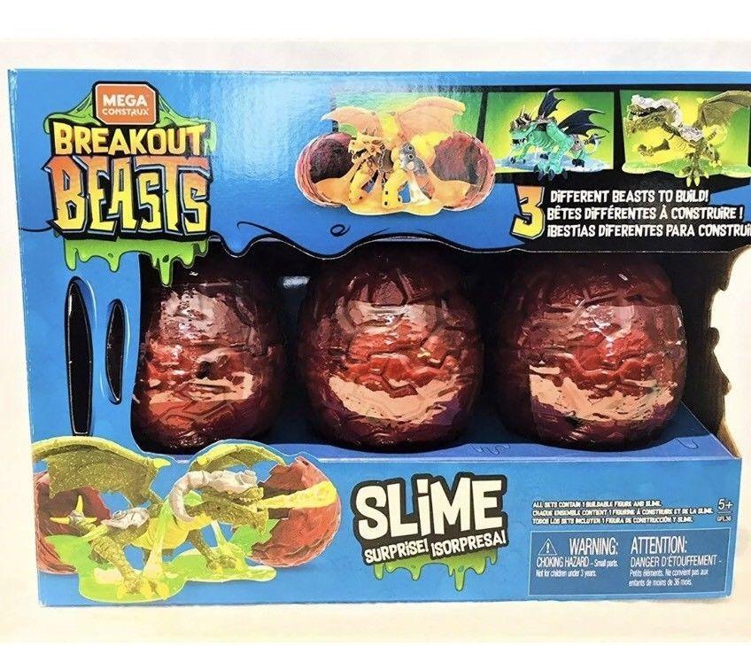 Mega Bloks Breakout Beasts Red Box Slime Egg Monster Dragon Mystery 3 Pack Blue Megaconstrux Beast Egg Slime Dragon Toys