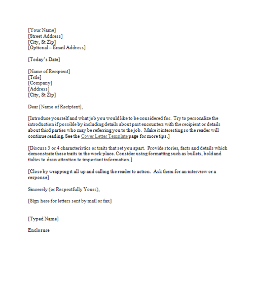 Cover Letter Template 1 http://syracusejobsmatter.com/all ...