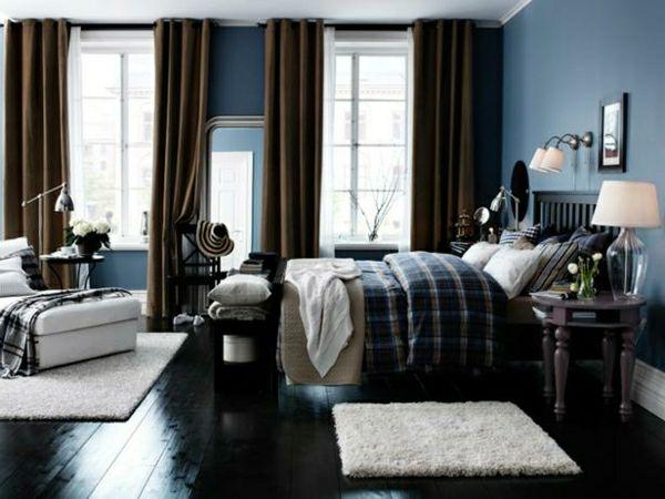 Farben Im Schlafzimmer Wandfarbe Blau Weiß Gardinen Braun