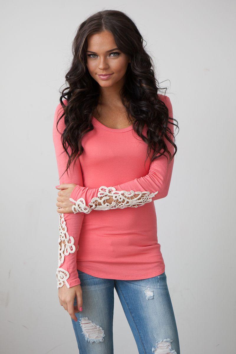 Magnolia Boutique Indianapolis - Crochet Sleeve Top • Coral, $37.00