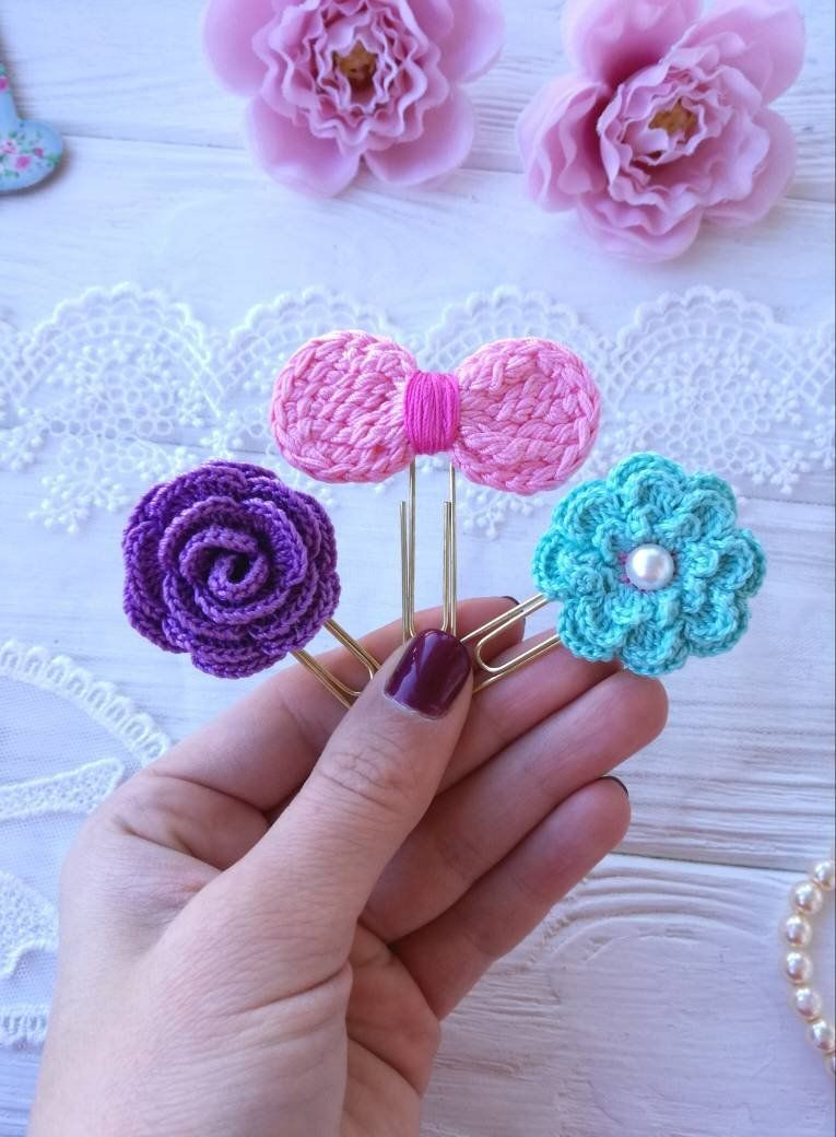3pcs Planner Paper Clips Crochet Clips Flower Clip Etsy In 2020 Crochet Flower Patterns Crochet Crochet Bookmarks