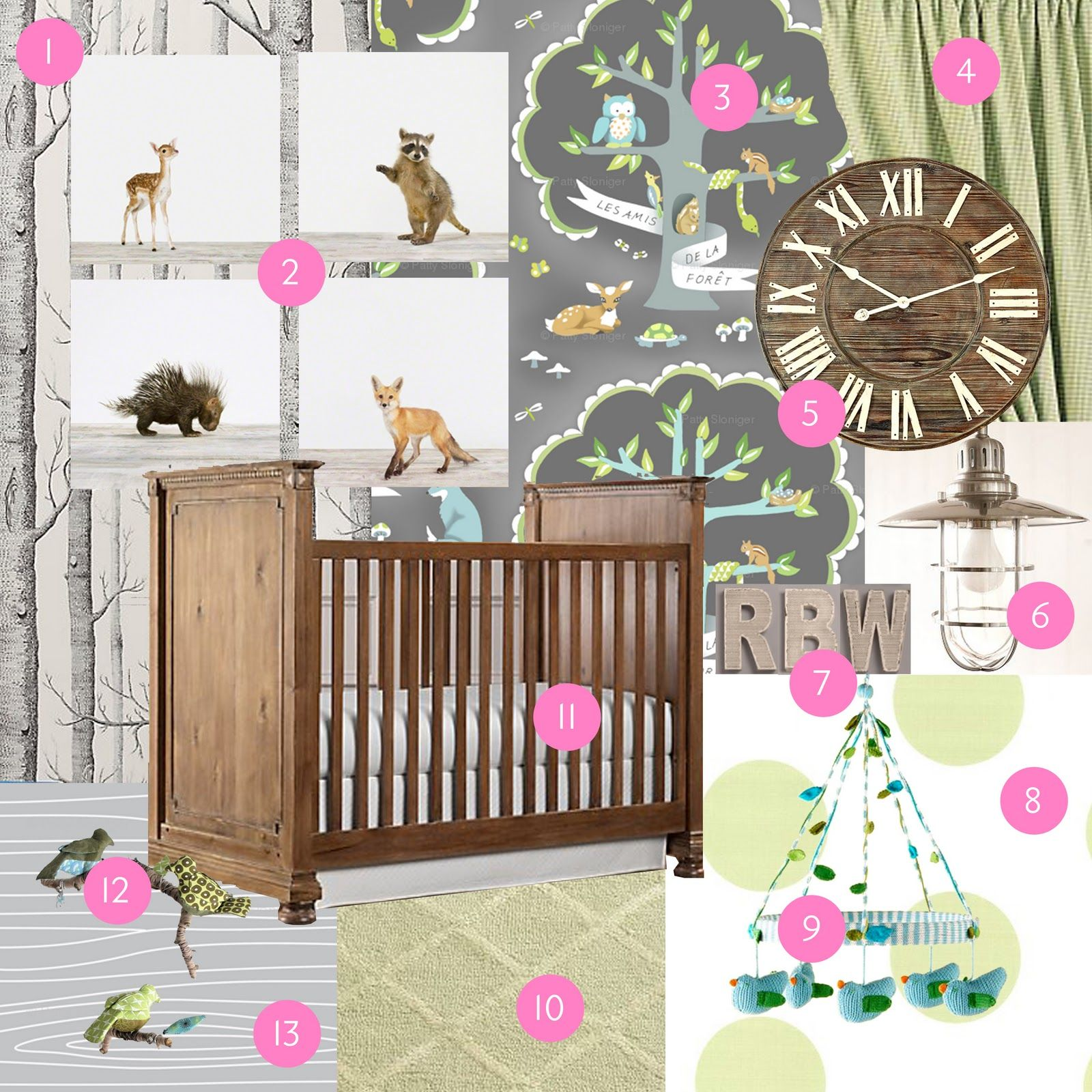 Woodland Forest Theme Nursery French Bedding Birch Trees Gold Painted Accessories Gr Green And Teal Gingham Driftwood Mirror