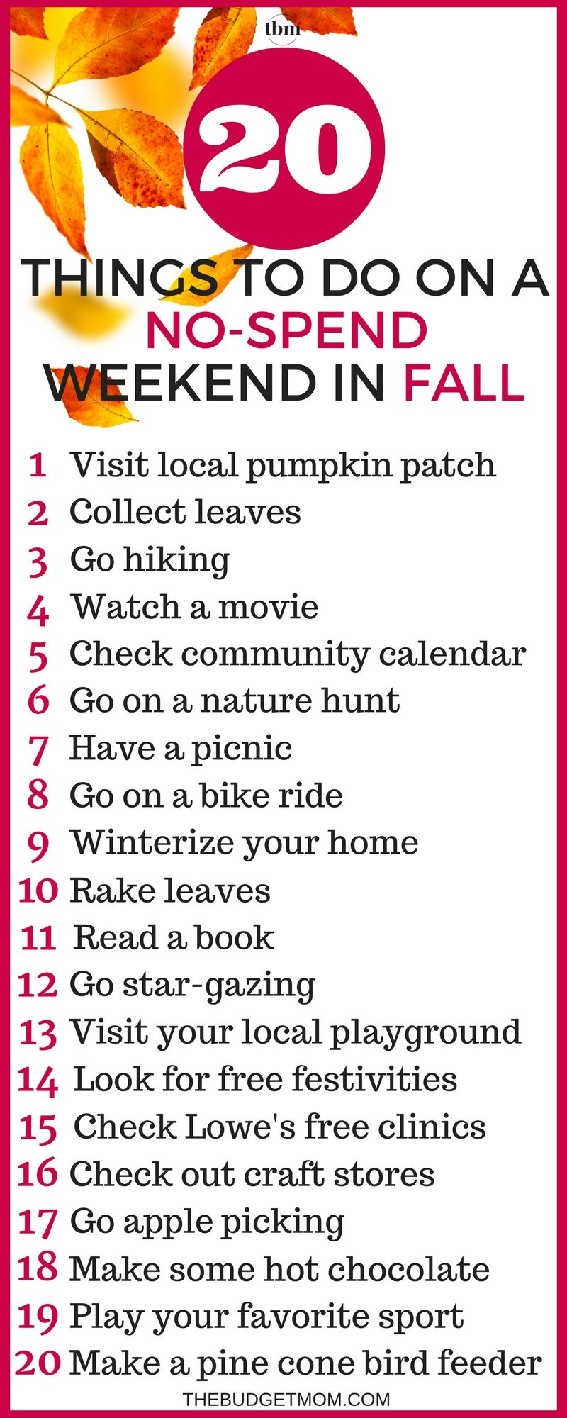 20 Things To Do On A No Spend Weekend In Fall Living On