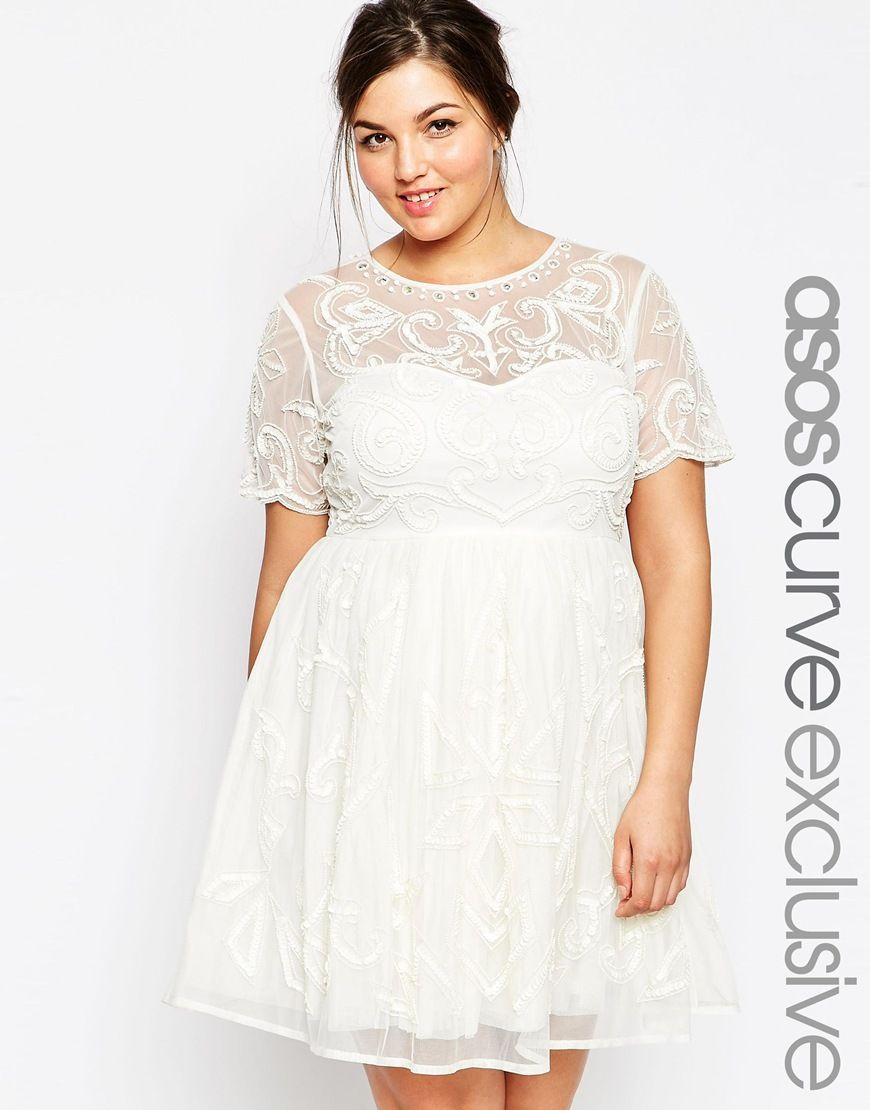 e336123e3a Modern plus size wedding dress with sleeves. 1 of ASOS CURVE WEDDING Pretty Skater  Dress with Embellishment