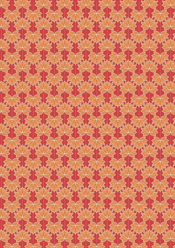 Red And Orange Lotus Flower Fabric Minshan Lewis And Irene