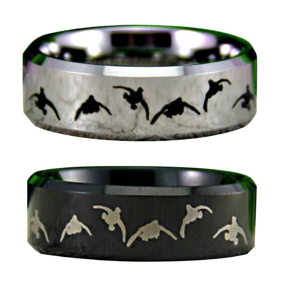 Duck Band Wedding Rings For Men Promise Him Engraved Personalized Solid Premium