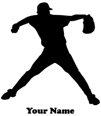 Baseball Player Pitcher Vinyl Decal  - Name Customizable Decal
