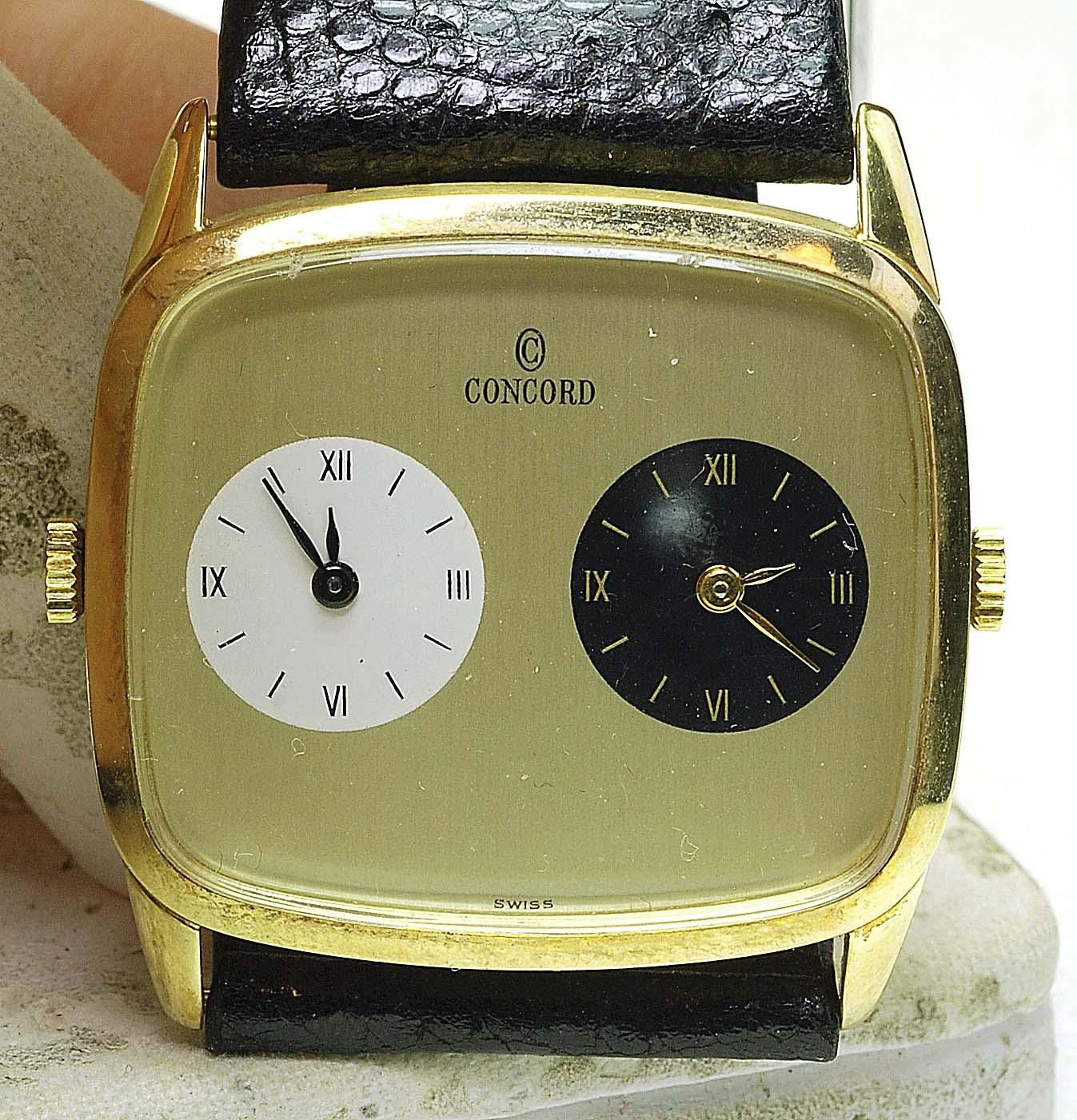 Rare new old stock 14k yellow gold concord dual time zone wrist rare new old stock 14k yellow gold concord dual time zone wrist watch wind up sciox Image collections