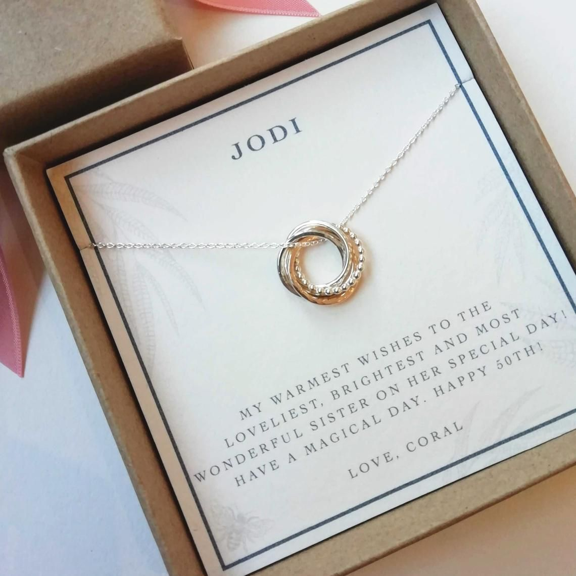 50th birthday gift 50th birthday jewelry 50th gift for